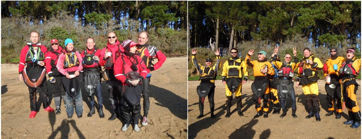 kayakistes rouges et jaunes